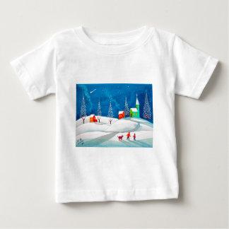 Shooting star folk naive art winter snow scene baby T-Shirt