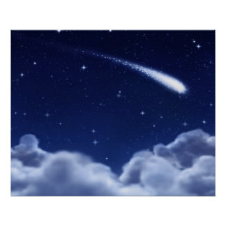 Shooting Star over Clouds Poster - Horizontal