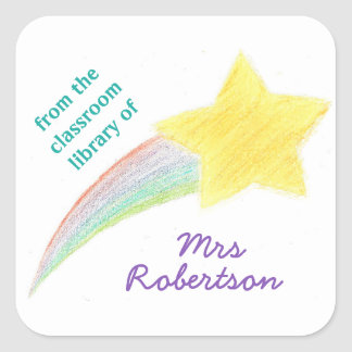 Shooting star personalized teacher bookplate square sticker