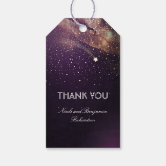 Shooting Star Plum Purple and Gold Night Wedding Pack Of Gift Tags