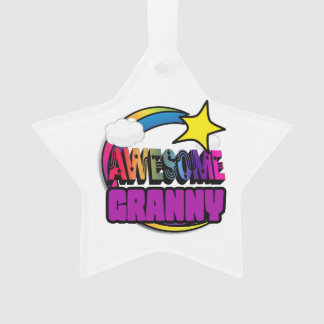 Shooting Star Rainbow Awesome Granny Ornament