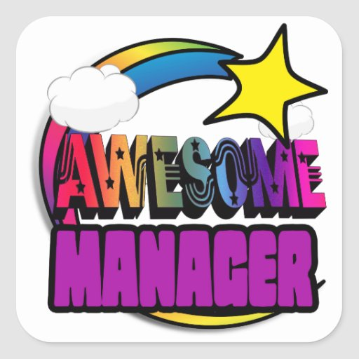 Shooting Star Rainbow Awesome Manager Square Stickers