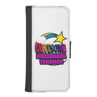 Shooting Star Rainbow Awesome Preschool Teacher iPhone 5 Wallets