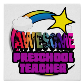 Shooting Star Rainbow Awesome Preschool Teacher Posters