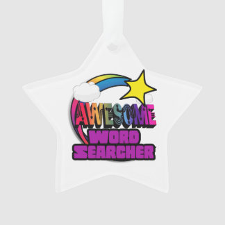 Shooting Star Rainbow Awesome Word Searcher Ornament