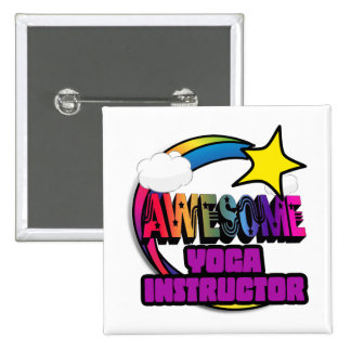Shooting Star Rainbow Awesome Yoga Instructor Buttons