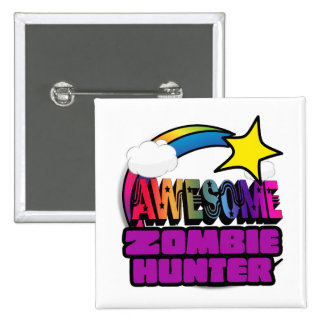 Shooting Star Rainbow Awesome Zombie Hunter Pinback Button