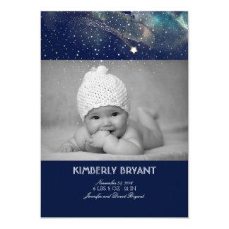 Shooting Star Starry Night Baby Photo Birth Card