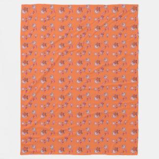Shooting Stars and Comets Orange Fleece Blanket