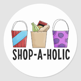 Shop-A-Holic Round Sticker