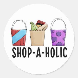 Shop-A-Holic Round Sticker