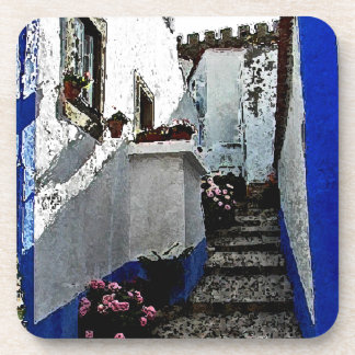 Shop and Steps in Obidos Portugal Drink Coasters