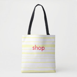 shop pink letter yellow hand-drawn stripes tote