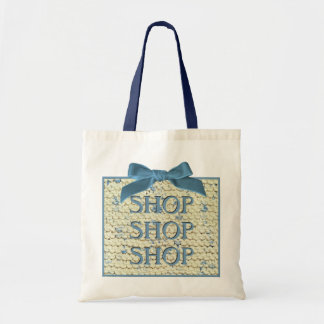 SHOP SHOP  SHOP  -  Hand Knit  - Cream and Blue Tote Bag