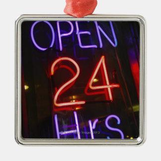 Shop Sign Silver-Colored Square Ornament