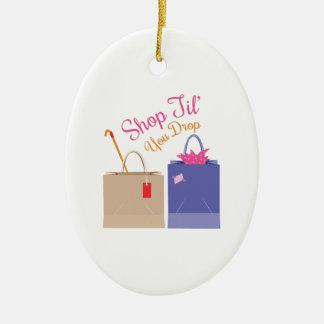 Shop Til You Drop Ceramic Ornament