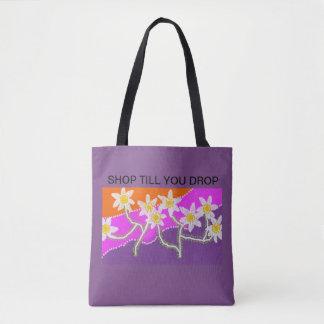 shop till you drop tote purple tote bag