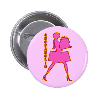 SHOPAHOLIC 2 INCH ROUND BUTTON