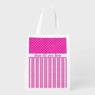 Shopping Bag: Candy Pink Geometric to Personalize Reusable Grocery Bag