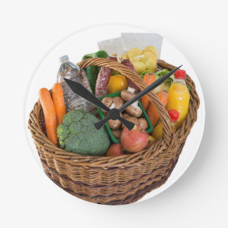 Shopping basket with foods fruits and vegetables round clock