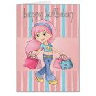 Shopping Birthday Card - Cute Female With Shopping