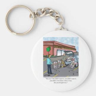 Shopping Cartoon 9392 Basic Round Button Keychain