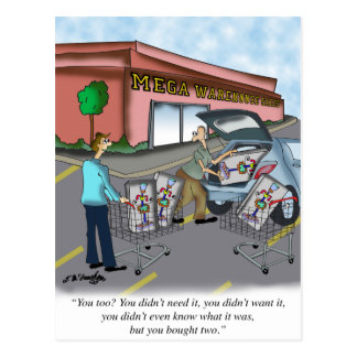 Shopping Cartoon 9392 Postcard