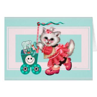 SHOPPING  CAT 2 CUTE NOTE Card
