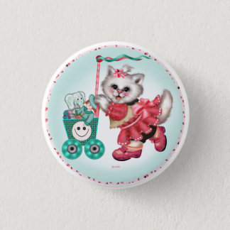 SHOPPING CAT  Button  Small, 1¼ Inch