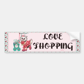 SHOPPING CAT CUTE Bumper Sticker