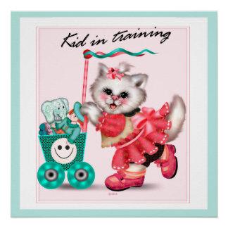 SHOPPING CAT CUTE CARTOON Perfect Poster