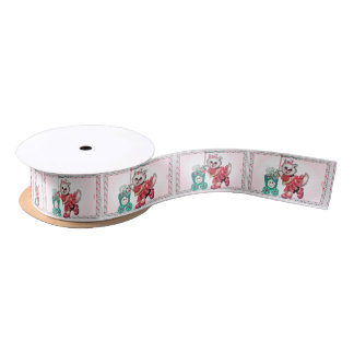 SHOPPING CAT CUTE GIRL CARTOON Satin Ribbon