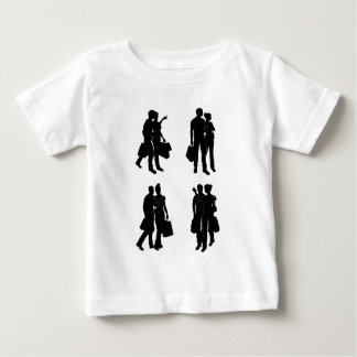 Shopping Couples Silhouettes Baby T-Shirt