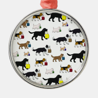 shopping dogs metal ornament