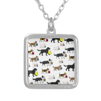 shopping dogs silver plated necklace
