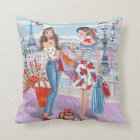 Shopping girls in Paris | Cotton Throw Pillow