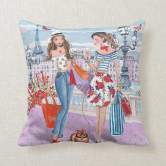 Shopping girls in Paris | Cotton Throw Pillow