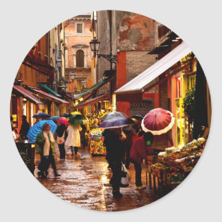 Shopping in the Rain Classic Round Sticker