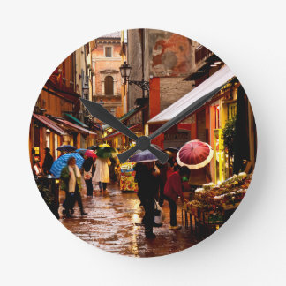 Shopping in the Rain Round Clock