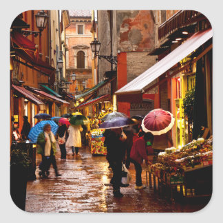 Shopping in the Rain Square Sticker