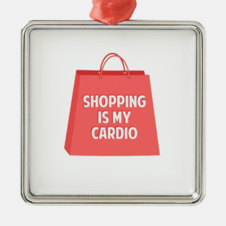 Shopping is my Cardio Metal Ornament