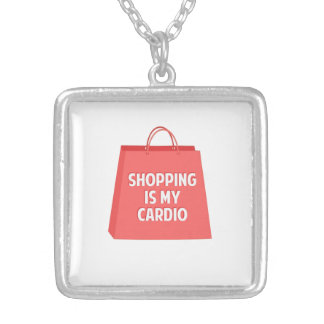 Shopping is my Cardio Silver Plated Necklace