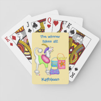 Shopping Poodle Whimsy Dog Art Yellow Poker Deck