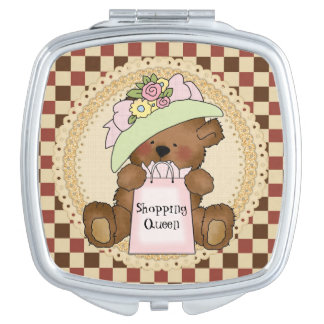 Shopping Queen Teddy Bear compact mirror