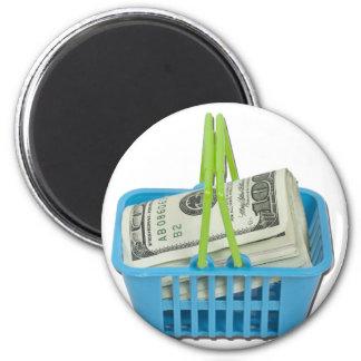 ShoppingBasketFullCash101311 2 Inch Round Magnet