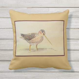 Shore Bird- Common Snipe Throw Pillow