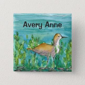 Shore Bird Lake Watercolor Custom Name 2 Inch Square Button