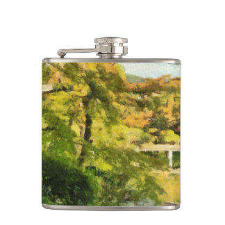 Shore of a small lake hip flask