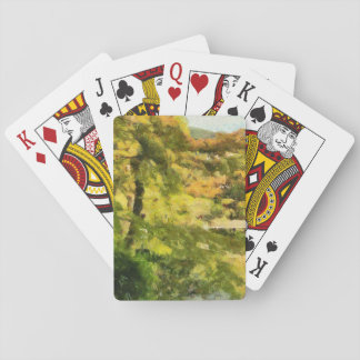Shore of a small lake playing cards