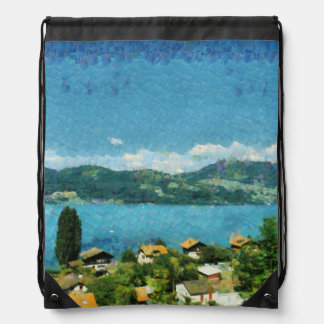 Shore of the lake drawstring bag